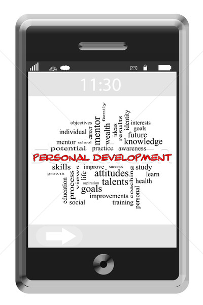 Personal Development Word Cloud Concept on a Touchscreen Phone Stock photo © mybaitshop