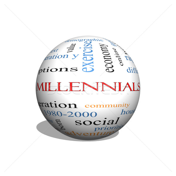 Millennials 3D sphere Word Cloud Concept  Stock photo © mybaitshop
