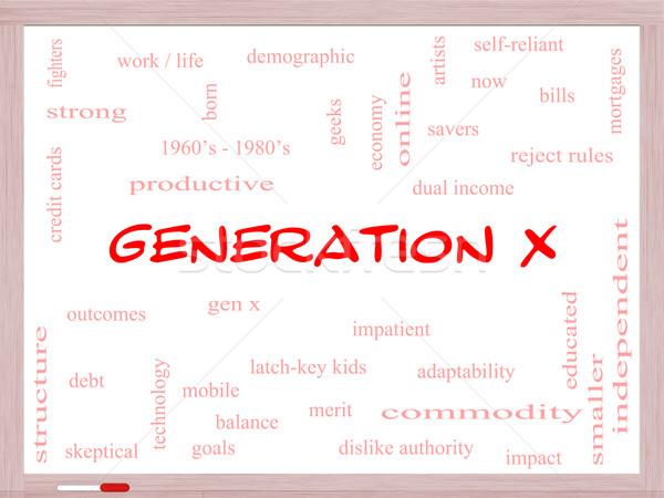 X-generáció szófelhő tábla nagyszerű most jövedelem Stock fotó © mybaitshop
