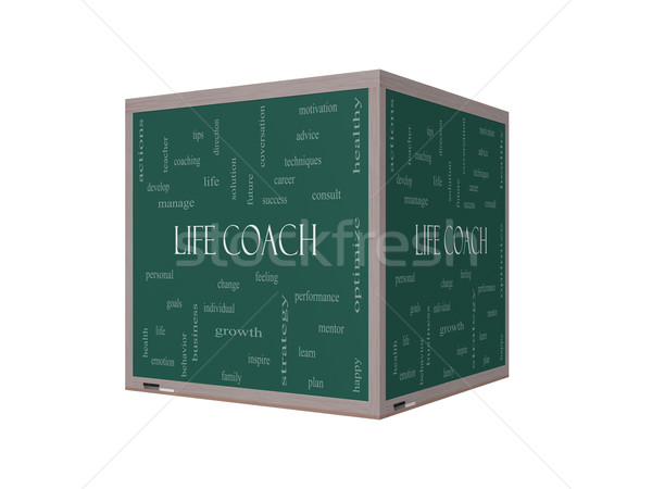 Life Coach Word Cloud Concept on a 3D Blackboard Stock photo © mybaitshop