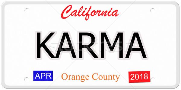 Калифорния карма номерной знак имитация слово написанный Сток-фото © mybaitshop