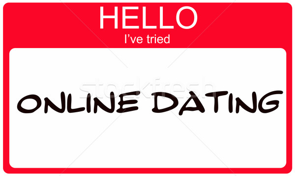 Stock photo: Hello I've Tried Online Dating red name tag
