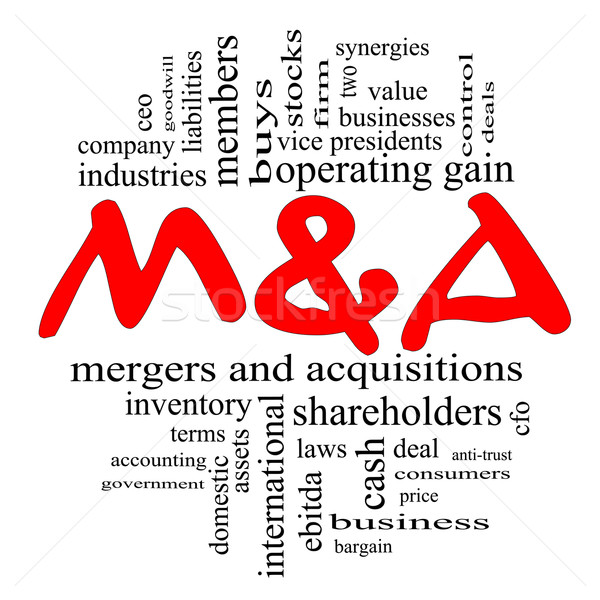 M & A (Mergers and Acquisitions) Word Cloud Concept in Red & Black Stock photo © mybaitshop