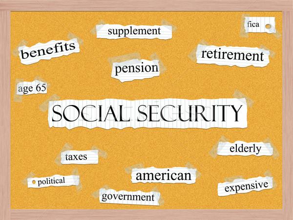 Társadalombiztosítás szó szófelhő szavak notebook papír Stock fotó © mybaitshop