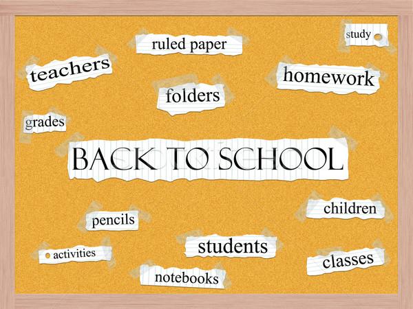 Terug naar school woord groot huiswerk studenten kinderen Stockfoto © mybaitshop