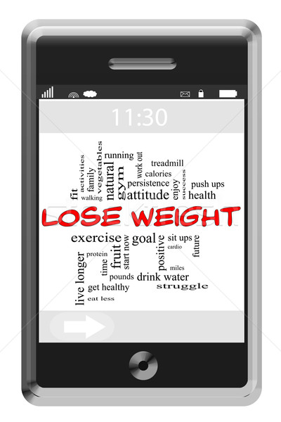 Lose Weight Word Cloud Concept on Touchscreen Phone Stock photo © mybaitshop