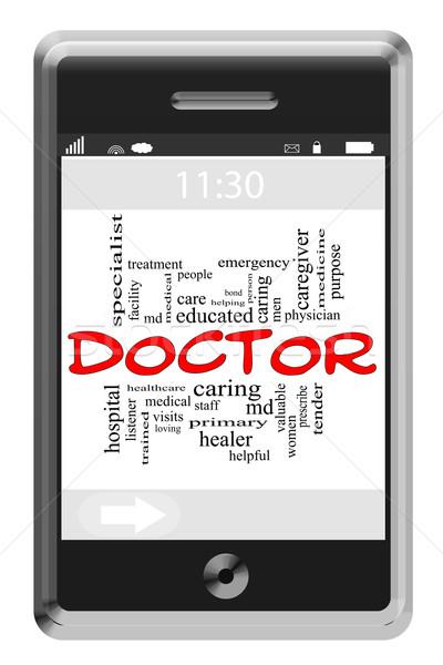 Doctor Word Cloud Concept on Touchscreen Phone Stock photo © mybaitshop