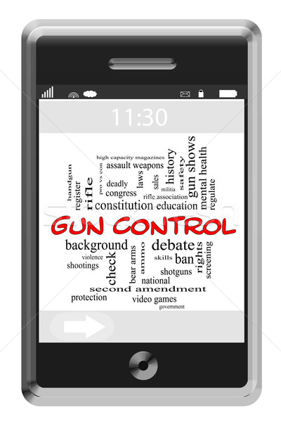 Word Cloud Concept on Touchscreen Phone Stock photo © mybaitshop