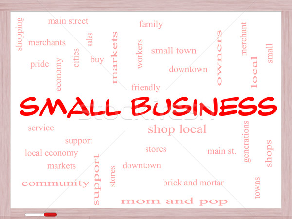 Small Business Word Cloud Concept on a Whiteboard Stock photo © mybaitshop