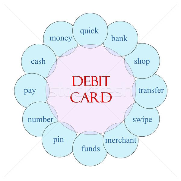 Tarjeta de débito circular palabra diagrama rosa azul Foto stock © mybaitshop