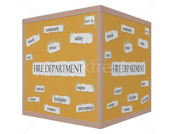 Tűzoltóság 3D kocka szó nagyszerű biztonság Stock fotó © mybaitshop