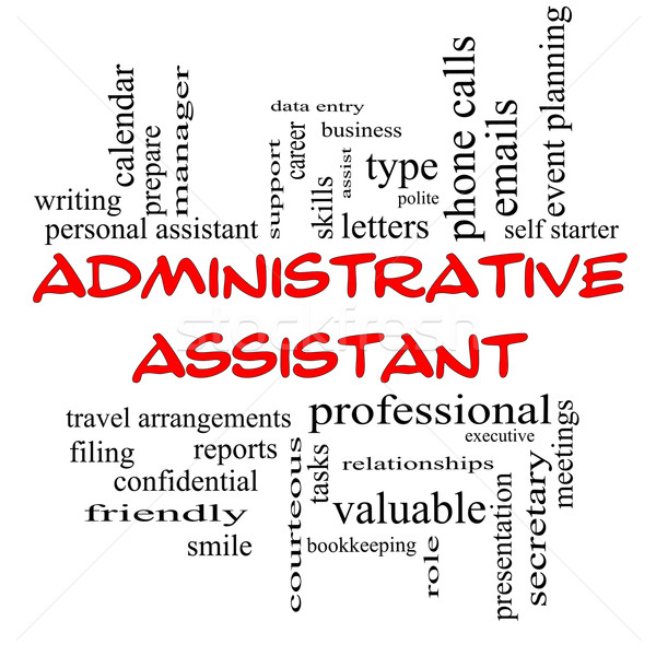 Administrative Assistant Word Cloud Concept in red caps Stock photo © mybaitshop
