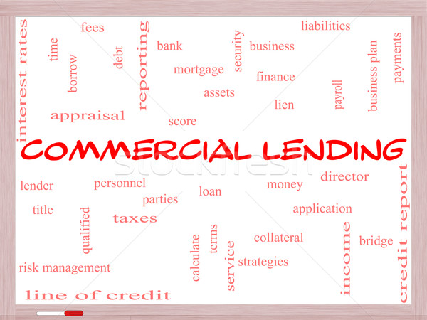 Commercial Lending Word Cloud Concept on a Whiteboard Stock photo © mybaitshop