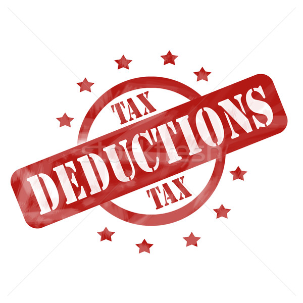 Red Weathered Tax Deduction Stamp Circle and Stars design Stock photo © mybaitshop