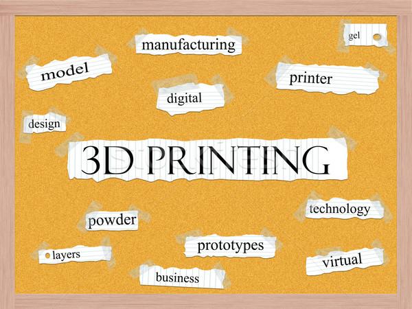 3D Printing Corkboard Word Concept Stock photo © mybaitshop