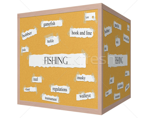 Fishing 3D cube Corkboard Word Concept Stock photo © mybaitshop