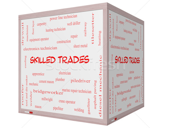 Skilled Trades Word Cloud Concept on a 3D cube Whiteboard Stock photo © mybaitshop