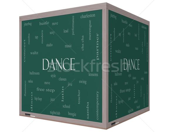Dance Word Cloud Concept on a 3D cube Blackboard Stock photo © mybaitshop