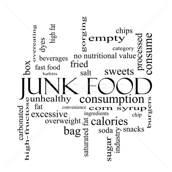 Junk Food Word Cloud Concept in black and white Stock photo © mybaitshop