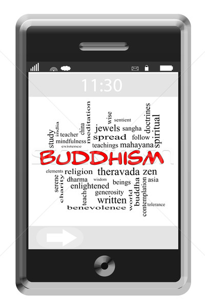 Buddhism Word Cloud Concept on Touchscreen Phone Stock photo © mybaitshop