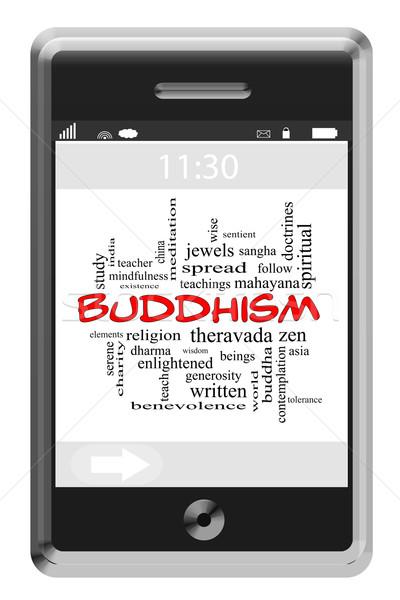 Buddyzm chmura słowo ekran dotykowy telefonu religii Zdjęcia stock © mybaitshop