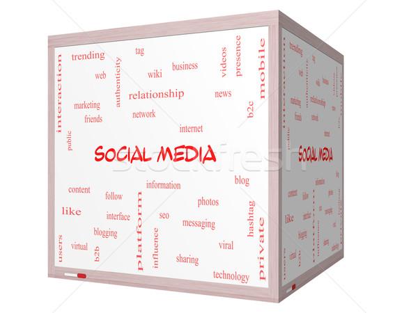 ソーシャルメディア 言葉の雲 3D キューブ ホワイトボード ストックフォト © mybaitshop
