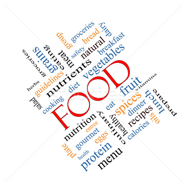 étel szófelhő nagyszerű gyümölcs zöldségek receptek Stock fotó © mybaitshop