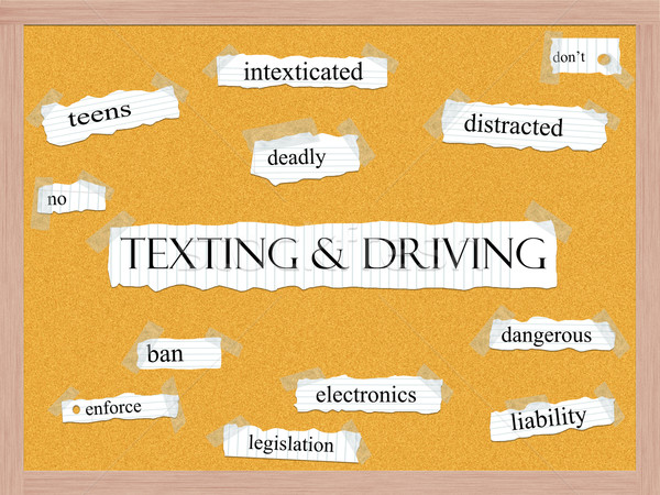 Texting and Driving Corkboard Word Concept Stock photo © mybaitshop