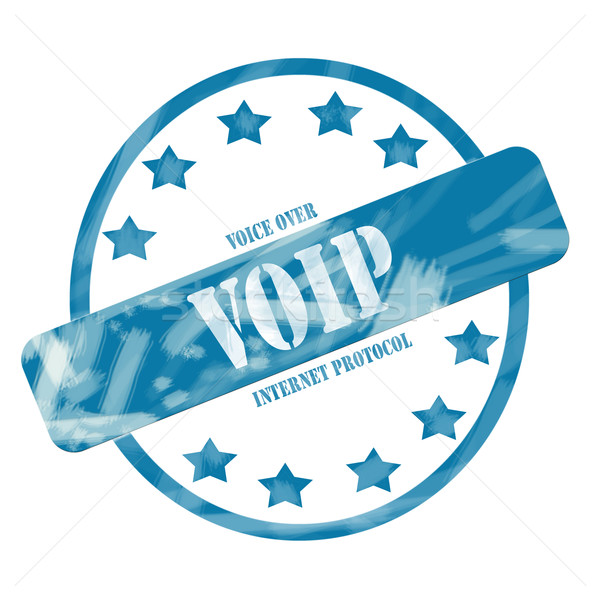 Blue Weathered VOIP Stamp Circle and Stars Stock photo © mybaitshop
