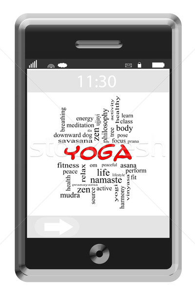 Yoga Word Cloud Concept on a Touchscreen Phone Stock photo © mybaitshop