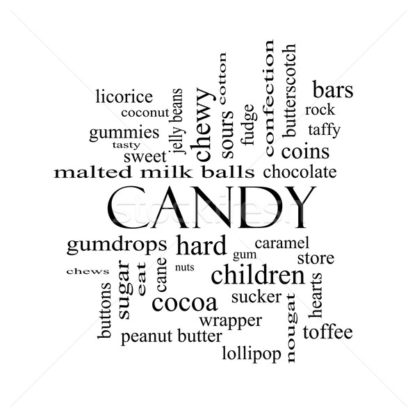 Foto d'archivio: Candy · word · cloud · bianco · nero · dolce · store