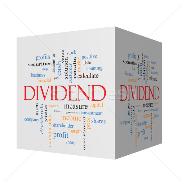 Dividend 3D cube Word Cloud Concept  Stock photo © mybaitshop