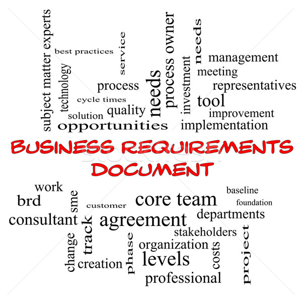 Business Requirements Document Word Cloud Concept in red caps Stock photo © mybaitshop