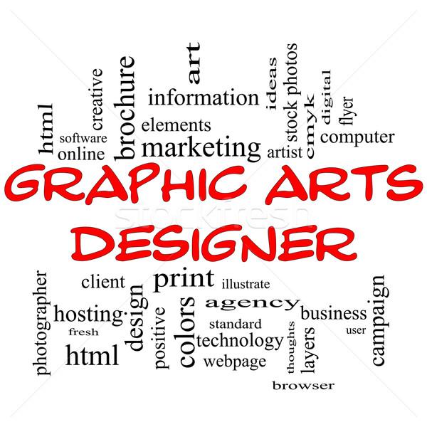 Graphic Arts Designer Word Cloud Concept In Red Caps Stock photo © mybaitshop