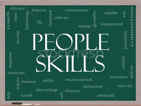 People Skills Word Cloud Concept on a Blackboard Stock photo © mybaitshop