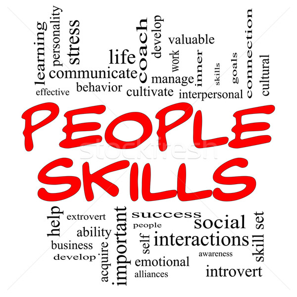 People Skills Word Cloud Concept in Red Caps Stock photo © mybaitshop