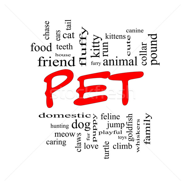 Pet Word Cloud Concept in red caps Stock photo © mybaitshop