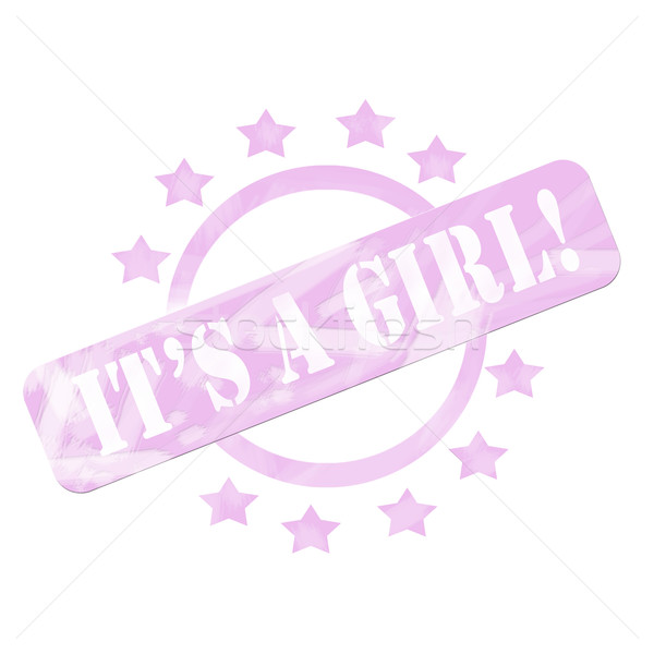 Pink Weathered It's a Girl Stamp Circle and Stars design Stock photo © mybaitshop