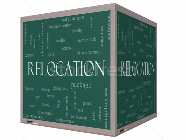 Relocation Word Cloud Concept on a 3D cube Blackboard Stock photo © mybaitshop