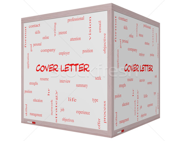 Cover Letter Word Cloud Concept on a 3D cube Whiteboard Stock photo © mybaitshop
