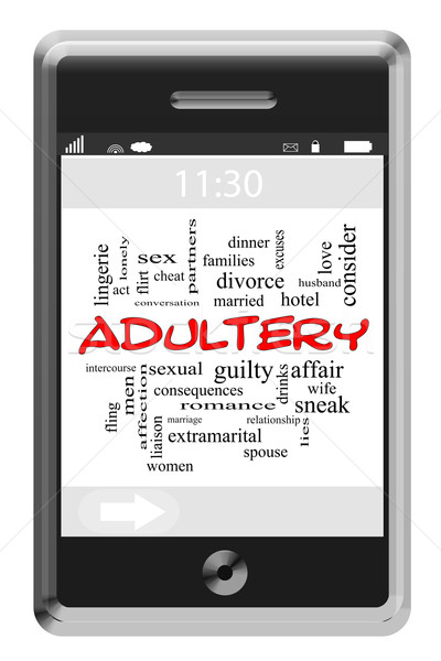 Stock photo: Adultery Word Cloud Concept on Touchscreen Phone