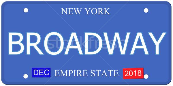 Broadway New York kentekenplaat imitatie woord Stockfoto © mybaitshop