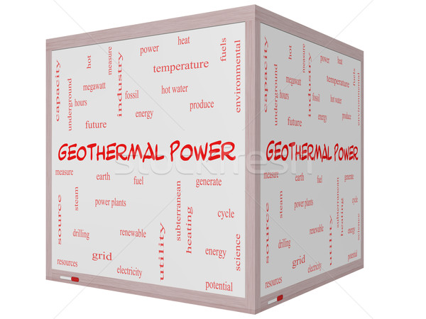 Geothermal Power Word Cloud Concept on a 3D cube Whiteboard Stock photo © mybaitshop