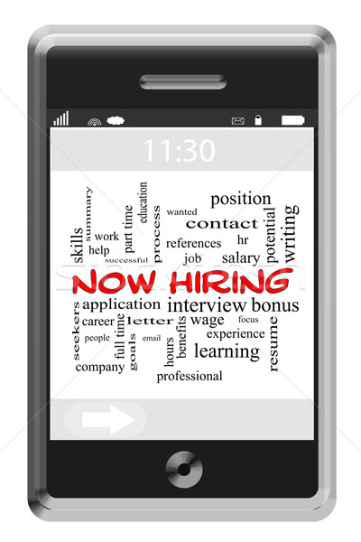 Now Hiring Word Cloud Concept on Touchscreen Phone Stock photo © mybaitshop