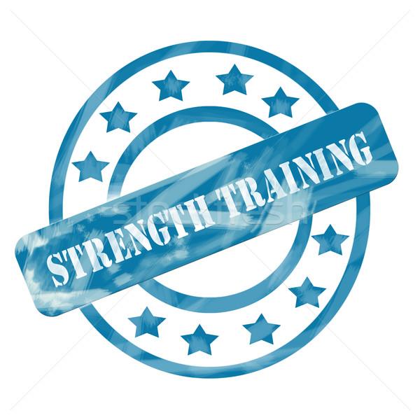 Niebieski wyblakły trening siłowy pieczęć circles gwiazdki Zdjęcia stock © mybaitshop