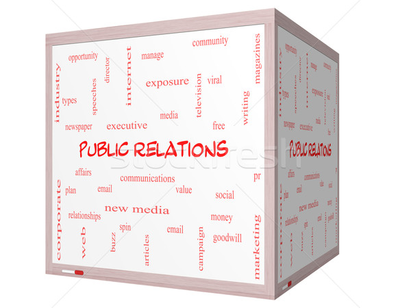 Public Relations Word Cloud Concept on a 3D Whiteboard Stock photo © mybaitshop