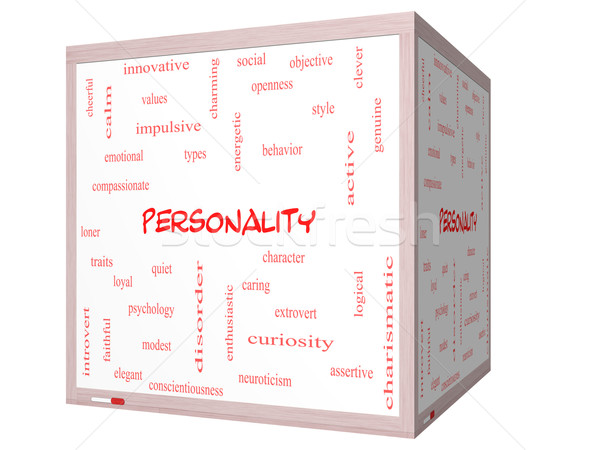 Personality Word Cloud Concept on a 3D cube Whiteboard Stock photo © mybaitshop