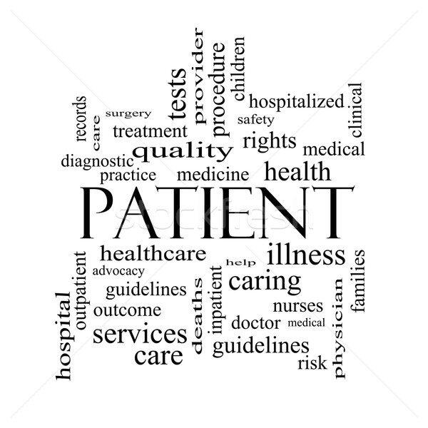 Patient Word Cloud Concept in black and white Stock photo © mybaitshop