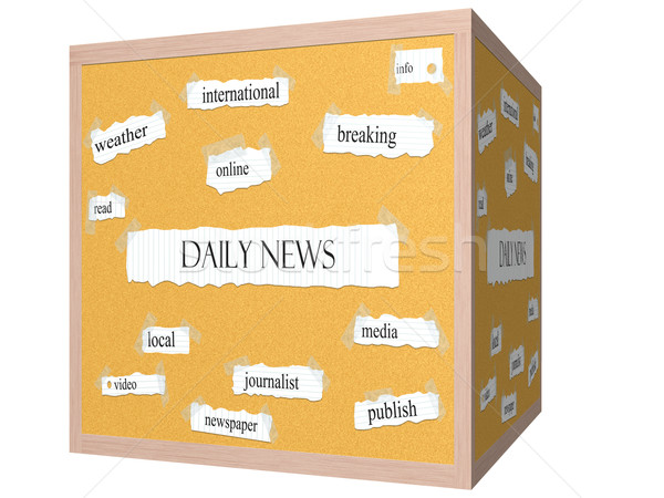 Daily News 3D cube Corkboard Word Concept Stock photo © mybaitshop