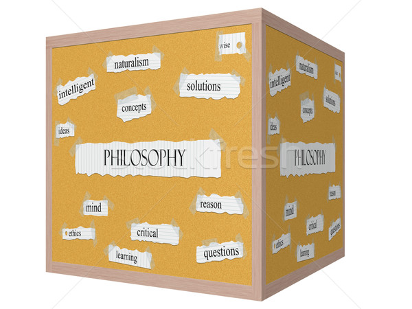 Philosophy 3D cube Corkboard Word Concept Stock photo © mybaitshop